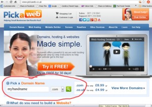 Pickaweb home page with domain name search box circled