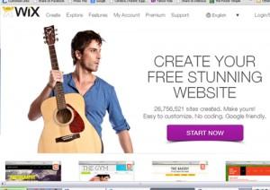 Homepage of WIX, free website builder.