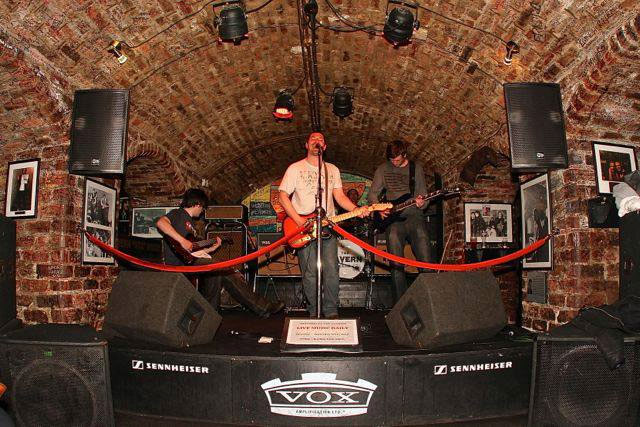 "The Relics playing at the ""new"" Cavern.  I've played there, but sadly it isn't the original site where the Beatles played."